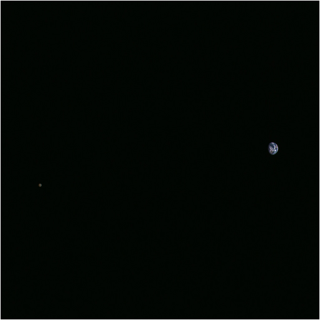Hayabusa 2 takes a picture of the Moon and the Earth